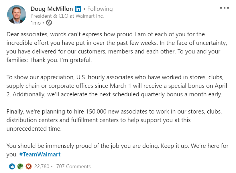 Employer branding during COVID-19: Walmart example
