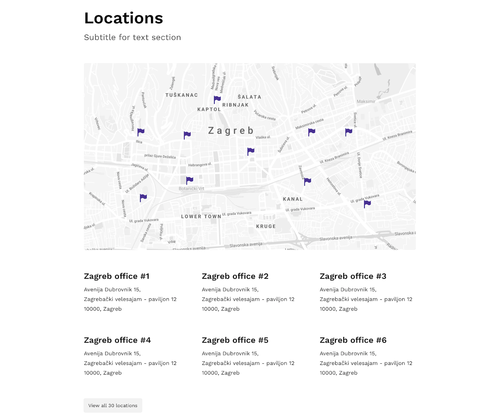 location page on career site example