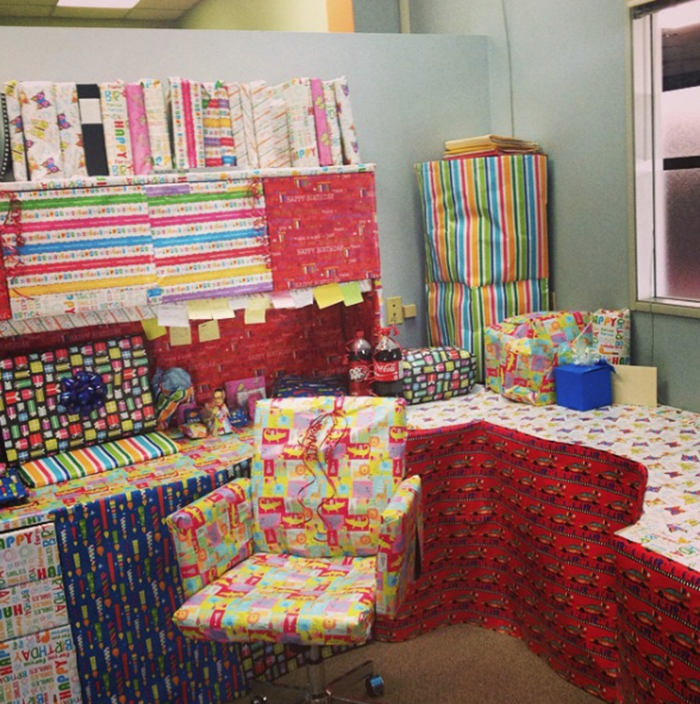 Funny-office-prank-idea-cubicle-wrapping-paper