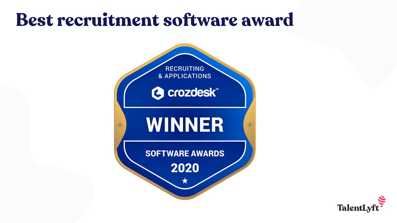 Best Recruitment Software award